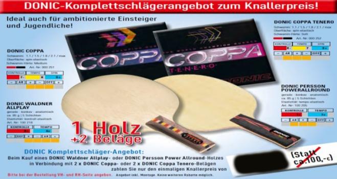 DONIC Komplettschläger Waldner Allplay oder Persson Power Allround mit Coppa-Belägen