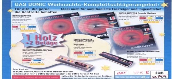 DONIC Komplettschläger Waldner Allplay oder Persson Power Allround mit Quattro-Belägen